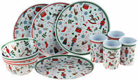 Toy Soldier Christmas 12 Piece Melamine Plastic Plate Cups Bowl Set