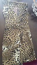 Roberto Cavalli leopard print jersey dress - jeweled embellishment - 46 - NWT