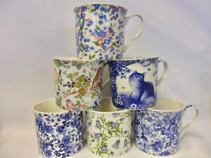 Set of 6 China palace Mugs in assorted blue floral designs.