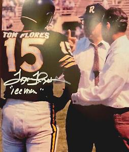 OAKLAND RAIDERS TOM FLORES #15  HOF SIGNED 8X10 PHOTO 1960 SEASON RARE POSE