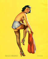 Vintage print art  model poster canvas Gil Elvgren painting french dressing