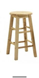 """Bar Stools 24"""" With Swivel Top Solid Wood Natural Finish (61cm Height) Pack of 2"""