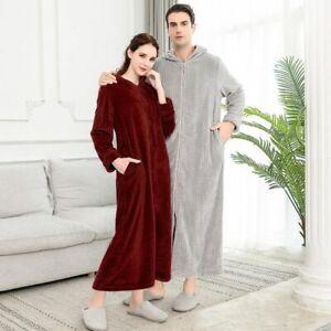 2021 Extra Long Plus Size Winter Warm Flannel  Zipper Hooded Bath Robe Couple