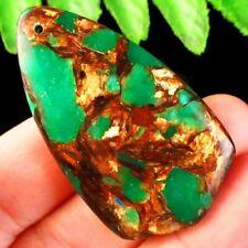 Green Gold Copper Bornite Stone Inverted Triangle Pendant Bead SD2019714