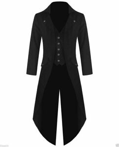 Men Steampunk Tailcoat Jacket three Buttons Colors Goth Victorian VTG