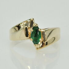 Ladies 14k Yellow Gold Marquise Cut Emerald Solitaire Gemstone Estate Ring