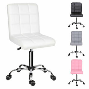 Swivel Office Computer Desk PC Table Chair PU Leather Padded Seat Adjustable UK