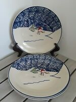"Set Of 3 Thompson Pottery Retired Snowman Salad Plates 7 5/8"" Reversed Embossed"