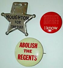 Vintage 1970s Boston University Badges Where's Boston Regents Houghton Sheriff
