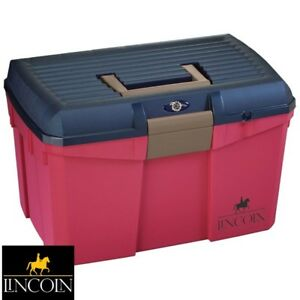 Lincoln Tack Box – RASPBERRY/NAVY – Mounting Step/Carry Grooming Kit – FREE P&P
