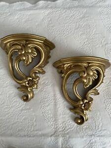 Vintage DART Industries MCM Antique Gold Wall Sconce Shelves