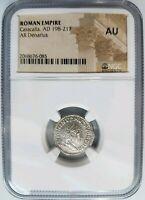 Caracalla Roman Empire AD 198-217 Silver AU NGC AR Denarius Venus Ancient