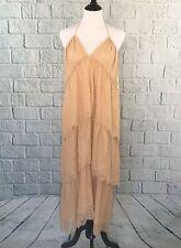 NWT BCBG Maxazria Kat Lace Tiered Halter Dress Sz M Parfait Color