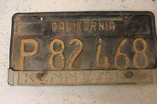 1960's Vintage California License Plate P 82 468 tag identification auto black