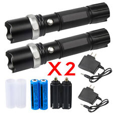 2 Sets Tactical Police SWAT Heavy Duty 3W LED Rechargeable Flashlight 18650