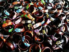 LOT 25 WOODEN RINGS WHOLESALE WOOD FLOWER RING