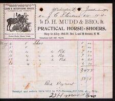1904 Washington D C  -- H Mudd Track Road Horse Shoes - Shoers - Letterhead