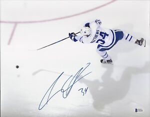 AUSTON MATTHEWS SIGNED AUTOGRAPHED 11x14 PHOTO MAPLE LEAFS BECKETT BAS COA PROOF