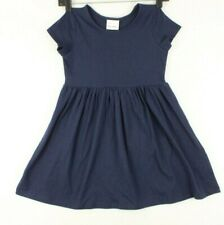 Hanna Andersson Girls Basic 100% Cotton Knit Dress Size 6-7 US Navy/Blue NWT