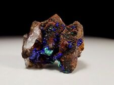 Royal Blue Azurite Crystals on Red Hematite Coated Quartz Cluster w/ Calcite #17