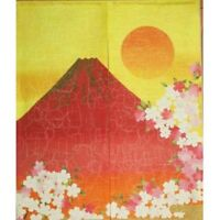 Kyoto Noren MS Japanese door curtain Red Mt.Fuji gold 85 x 150cm With Tracking