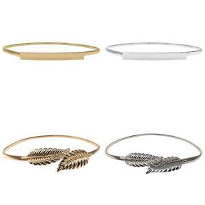 Womens Ladies Fashion Gold Leaves Metal Elastic Thin Skinny Belt  Waist Band