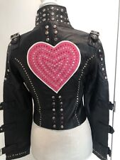 $995 NWT ONE OF A KIND BLACK LEATHER JACKET W/ HEART, CRYSTALS &STUDS SZ S