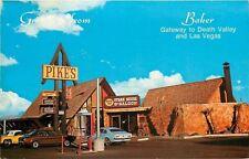 Baker California~Pike's Cafe~Steakhouse & Saloon~1970s Cars~Postcard