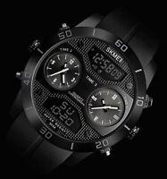 XXL SKM Analog Digital Herren Männer Armband Uhr Schwarz Weiß Chronograph Dual