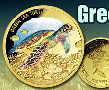 1 oz LMT EDITION GREEN SEA TURTLE Colourised Finished in 999 24k Gold Coin Medal