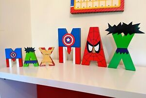 Childrens Mini Bedroom door Letters Avengers Marvel superhero boys kids