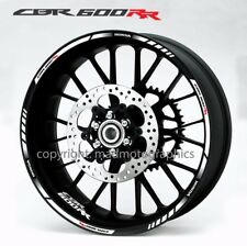 Honda CBR600RR motorcycle wheel decals stickers rim stripes Laminated 600 RR wht
