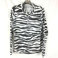 SAN SOLEIL Women's Size Medium Top Zebra Print Black White UPF 50 Gray White
