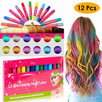 12Pcs Disposable Hair Color Dye Fluorescent Crayons Hair Temporary Coloring Pen