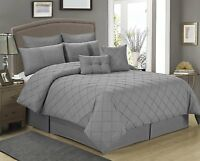 8 Piece MANCHESTER Gray Tucking Pattern Comforter Set-Queen King size