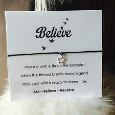 Believe Birds Wish String Charm Star Bracelet Friendship Gift Tags Card #60A