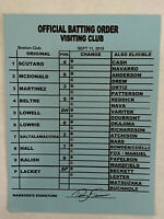 Game Used MLB Boston Redsox Signed Line Up Card Official Batting Signed, Lackey