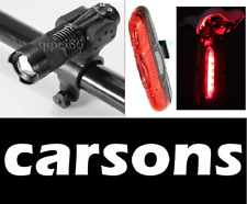 Front Cree & Rear 5 led lights set zoom head light torch lamp bright red bike