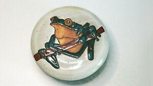 Signed Vintage Art Studio Glazed Frog Trinket Dish with Lid