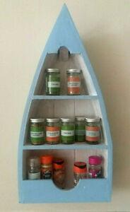 Wall mounted herb & spice boat shaped nautical kitchen shelf