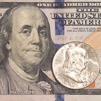 Franklin Half Dollar & $100 Federal Reserve Note