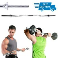 EZ Curl Bar Barbell For Weight Lifting Bicep Triceps Arms Workout Gym 47 In Rod