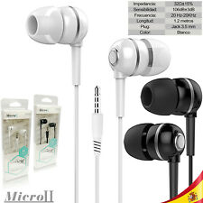 Auriculares Universales Blancos Cromados 1.2 mts Cascos IOS Android jack 3.5mm