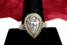 925 STERLING SILVER DANIEL K GOLD PLATE CLEAR & CITRINE ACCENTS RING SIZE 10.25