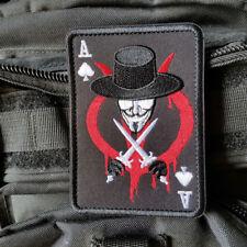 Ace of Spades V for Vendetta Military Hook Patch Card Emblem Black Red Badge