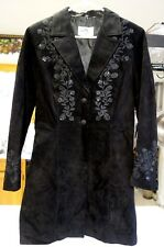 Skully Genuine Leather Jacket Steampunk Coat 8 Sequins Embroidery Goth