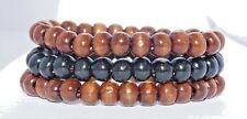 SET OF 3 WOOD BEAD SURFER BRACELETS BOHO MALA YOGA HIPPY WOODEN BEADED WRISTBAND