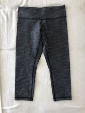 Lululemon Wunder Under crop Grey Pique Textured Normal Rise Sz 6