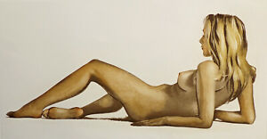 "Roger Hebbelinck ""Nu Couche #1"" Hand Signed Aquatint Etching Unframed nude OBO"