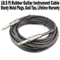 """18.5 FT Black Rubber Guitar Instrument Cable Cord Patch Effect Gold Tip 1/4"""" NEW"""